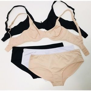 5 pc Soft Solid Molded Cup Bra & Panties Set